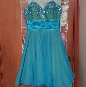 Beaded formal short blue and green party dress sz6